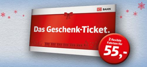 [DB] Geschenktickets 2 Freifahrten: 2. Klasse 55€, 1. Klasse 75€, ab 16.12.15