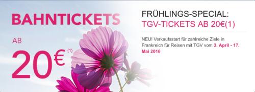 [TGV] und nochmal SNCF mit einem Angebot für den TGV: mit dem Frühlingsspezial ab 20€ durch Frankreich