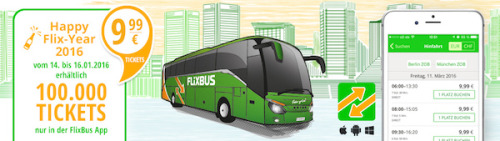 [meinfernbus/flixbus] Happy Flix-Year Tickets: 100.000 Tickets für 9,99 €